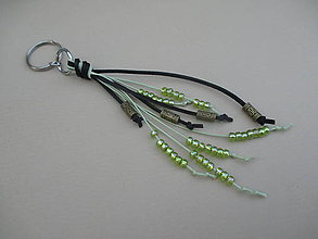 Kľúčenky - Kožená - korálková kľúčenka - 9557718_
