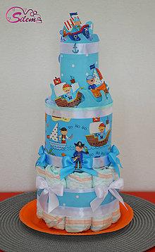 Detské doplnky - Plienková torta pre malého piráta - 9558697_