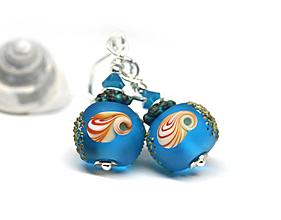 Náušnice - Mušle náušnice - bright blue - 9558580_