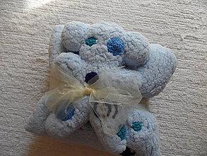 Detské súpravy - setík vankúšik a macko (Modrá) - 9557448_
