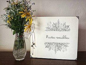 Papiernictvo - Fotoalbum klasický, papierový obal so štruktúrou plátna a voliteľnou potlačou na prednej strane  a nápisom ,,Naša svadba,, (Fotoalbum klasický, papierový obal so štruktúrou plátna a potlačou ,,Naša svadba 2,,) - 9559509_