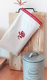Ľanové vrecko na menší chlieb a pečivo z ručne tkaného slovenského ľanu 30 x 18 cm