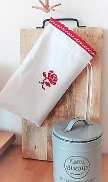 Úžitkový textil - Ľanové vrecko na menší chlieb a pečivo z ručne tkaného slovenského ľanu 30 x 18 cm - 9557685_