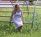 Šaty - Romantické batikované ľanové šaty - 9558822_