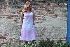 Šaty - Romantické batikované ľanové šaty - 9558823_
