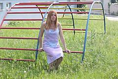 Šaty - Romantické batikované ľanové šaty - 9558824_