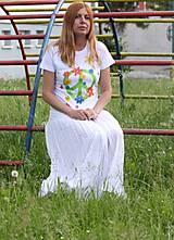 Tričká - Hippies kvetinkové maľované tričko  PEACE veľkosť S - 9559118_