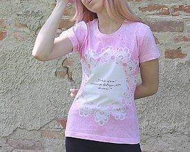 Tričká - Batikované ružové tričko s nápisom podľa vášho želania - 9558757_