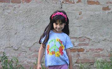 Tričká - Detské kvetinkové maľované tričko z bavlny veľkosť 110 -Peace - 9559161_
