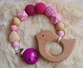 Hračky - Drevené hryzátko srdiečko (Ružová tmavoružový klip) - 9557588_
