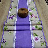 Jarný s fialovou - stredový obrus (125 cm x 40 cm)