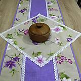 Úžitkový textil - Jarný s fialovou - obrus štvorec - 9558745_