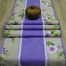 Úžitkový textil - Jarný s fialovou - stredový obrus (155 cm x 40 cm) - 9558209_