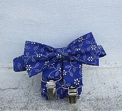 Doplnky - Traky a motýlik modrotlač - 9557660_