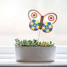 Dekorácie - Zápich do kvetináča - motýľ (1) - 9557522_