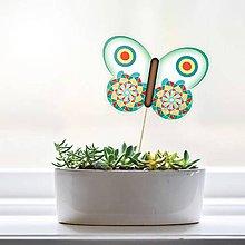 Dekorácie - Zápich do kvetináča - motýľ (5) - 9559578_
