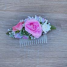 Ozdoby do vlasov - Hrebienok s ružovou ružičkou - 9563159_