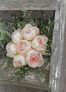 Dekorácie - svadobná kytica: marhuľové pivónie - 9563153_