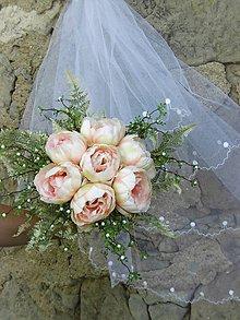 Dekorácie - svadobná kytica: marhuľové pivónie - 9563155_