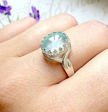 Prstene - Aquamarine Silver Ag925 Ring / Strieborný vintage prsteň s akvamarínom /0214 - 9560306_