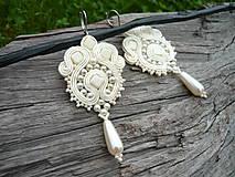 - Soutache náušnice Svadobné perličkové Ivory - 9562676_