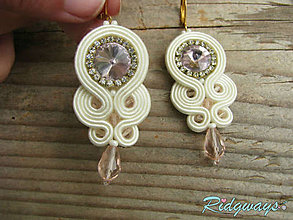 Náušnice - Simple teardrop...soutache (Ivory/Light Rose) - 9561358_