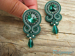 Náušnice - Simple teardrop...soutache (Emerald/Silver) - 9562467_