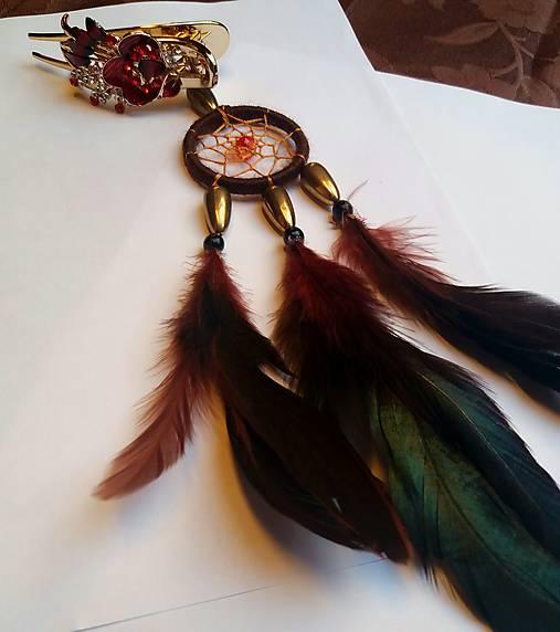 Ozdoba do vlasov - lapač snov-  Indiánka
