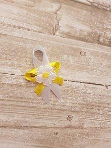 Pierka - pierko žlto-biele s bielou margarétkou - 9561297_
