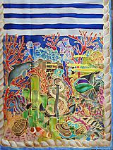 Šály - Pod hladinou- hodvábny maľovaný šál - 9563021_