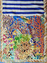 Šály - Pod hladinou- hodvábny maľovaný šál - 9563027_