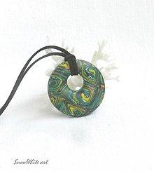 Náhrdelníky - Zelený špirálkový donut - 9563163_
