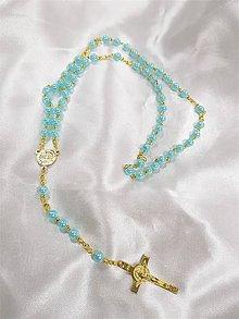 Iné šperky - Ručne vyrábané perličkové ružence (Modrá) - 9561239_