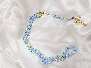 Iné šperky - Ručne vyrábané ružence (Modrý ruženec) - 9561561_