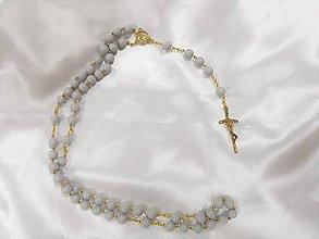 Iné šperky - Ručne vyrábané ružence (Sivý ruženec) - 9561563_