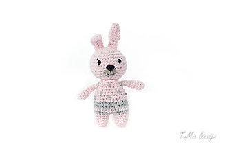 Hračky - Zajko Samko do ručičky (Ružový s bodkami) - 9563704_