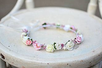 Ozdoby do vlasov - Nežný venček z drobných kvetov s perličkami - 9563168_