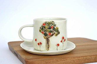 Nádoby - Porcelánová espresso šálka Jabloň - 9560799_