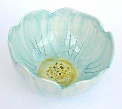 Nádoby - Porcelánová misa Tyrkysový kvet - 9561110_