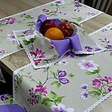 Úžitkový textil - Jarný s fialovou - šerpa naprieč stola 120x36 - 9560117_