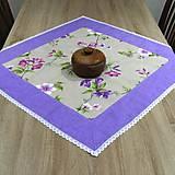 Úžitkový textil - Jarný s fialovou - obrus štvorec(2) - 9561190_