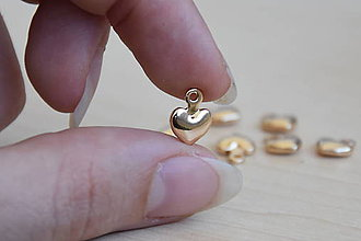 Komponenty - Prívesok srdce 11mm 24K, 1.10€/ks - 9560688_