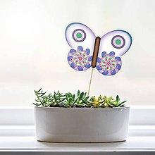 Dekorácie - Zápich do kvetináča - motýľ (6) - 9562157_