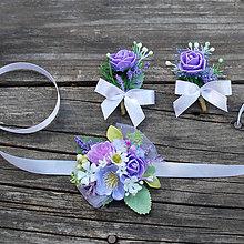 Náramky - Svadobné pierka a náramky fialkové - 9564380_