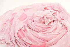 Šály - Pastelovo-ružový hodvábny pléd. - 9564904_