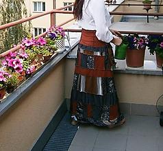 Sukne - etno maxi sukňa kaková - 9564433_