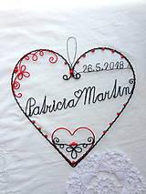 Dekorácie - srdce s menami a dátumom svadby...folk - 9564330_