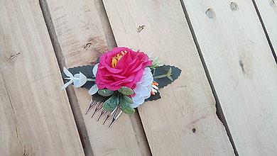 Ozdoby do vlasov - Mini hrebienok s ružou - 9566502_
