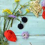 Náušnice - Little black earrings  - vyšívané náušnice - 9564220_