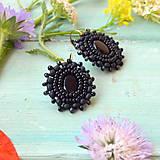 Náušnice - Little black earrings  - vyšívané náušnice - 9564221_